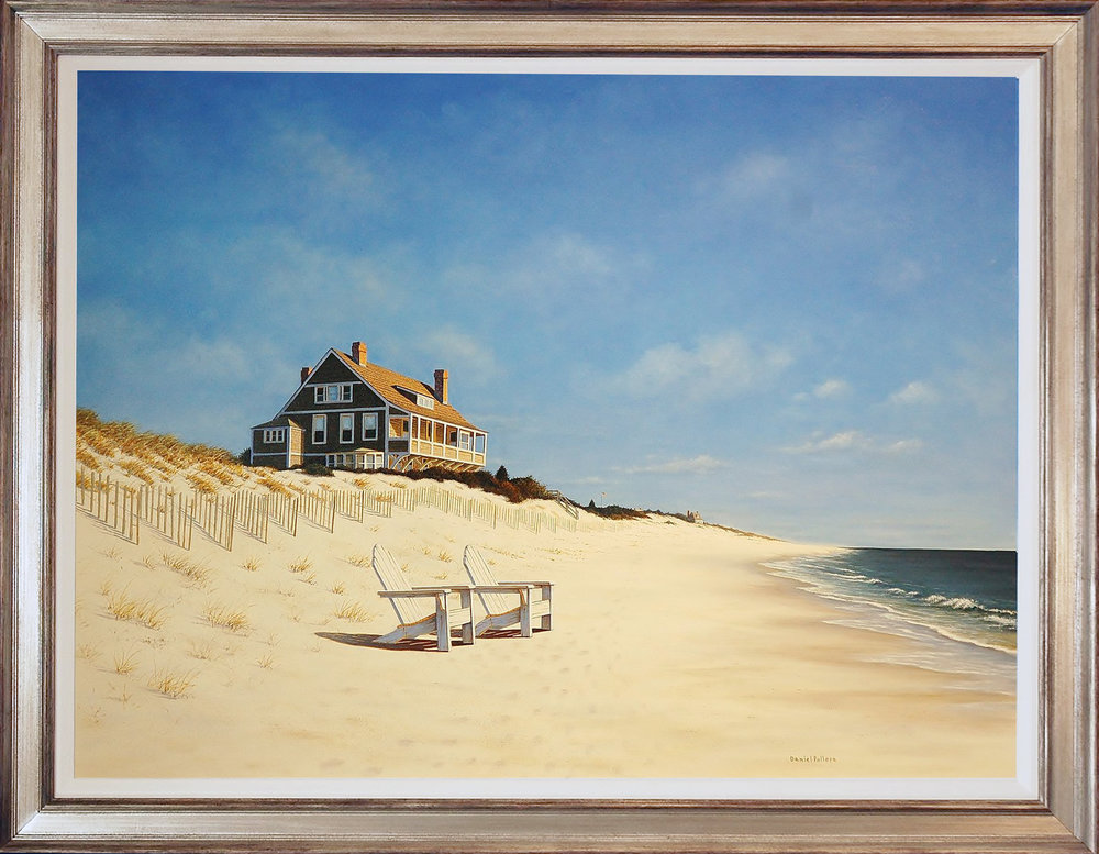 MID DAY AT EAST HAMPTON BEACH BY DANIEL POLLERA  $18,000.00  (2017) Oil on Canvas  SKU: DP009 | 36 x 48 (43 x 55 framed)  Professionally framed in an intentionally distressed silver frame.