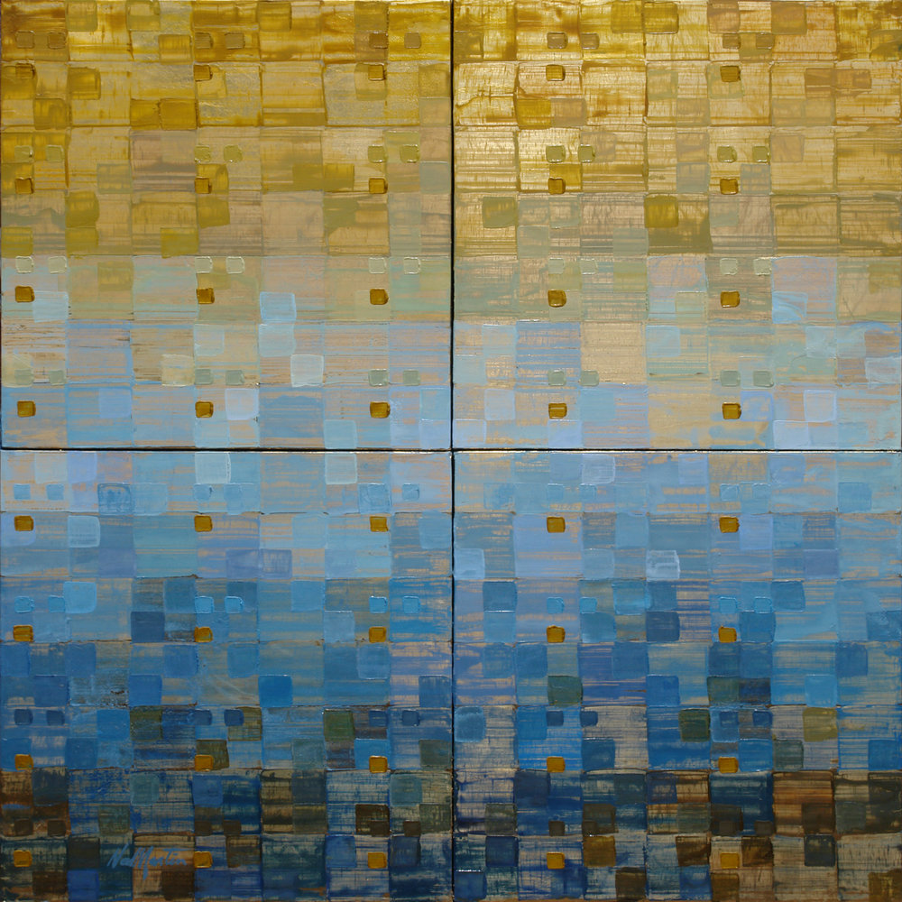 WITH NATURE BY NED MARTIN  3,200.00  (2016) | Oil on Recycled Aluminum   SKU: NM 030 | 4 panels 14 x 14 each