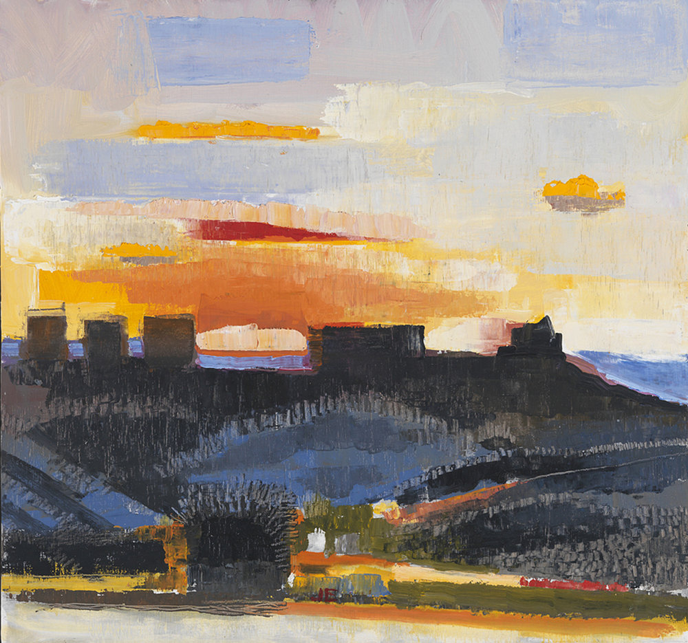 Houses on Ridgeat Sunset - (2010) oil on canvas | 14.5 x 15.25CLICK FOR MORE WORKS BY JOHN EVANS