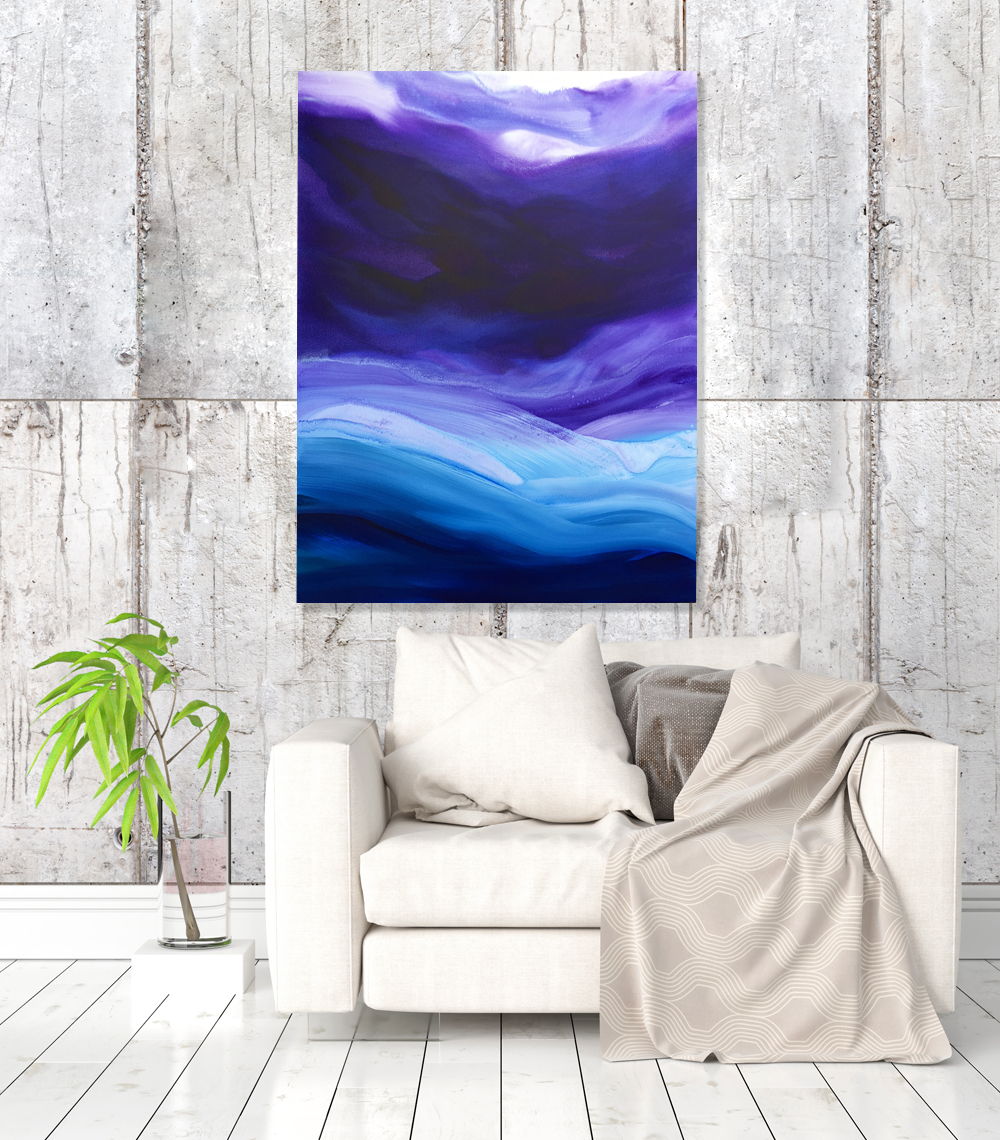 Lavender Sky by Teodora Guererra (48 x 36) Acrylic on Canvas.