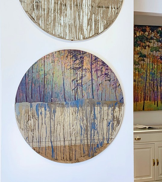 """Sneak peek of """"LIGHT EFFECTS: New works by Ken Elliott & Alina B with Designer Vignette BLURRED EDGES by Kate Smith Interiors....TONIGHT! 5-8pm! Light refreshments and appetizers provided by Gates Restaurant!"""