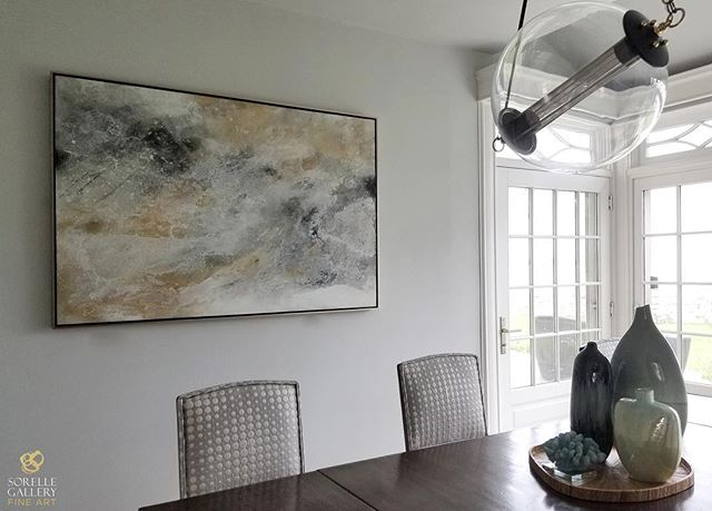 "With Thanksgiving less than a week away @sorellegallery wanted to share another favorite dining room with you. Overlooking the L.I. Sound, this room's installation ""Black Ice"" is by @s.daanechesnut . This mixed media and mineral painting evokes an organic element. SHOP: sorellegallery.com/daane-chestnut"