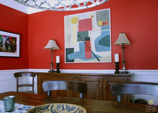 "Our third favorite dining room #installation is Stanley Bate's ""Vana."" It's a #modern, geometric oil on canvas piece intensifying the #interiordesign. More at sorellegallery.com/bate"
