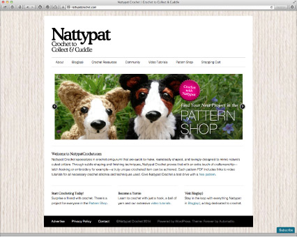 The freshly WordPressed NattypatCrochet.com—new background, new fonts & better navigation functions.
