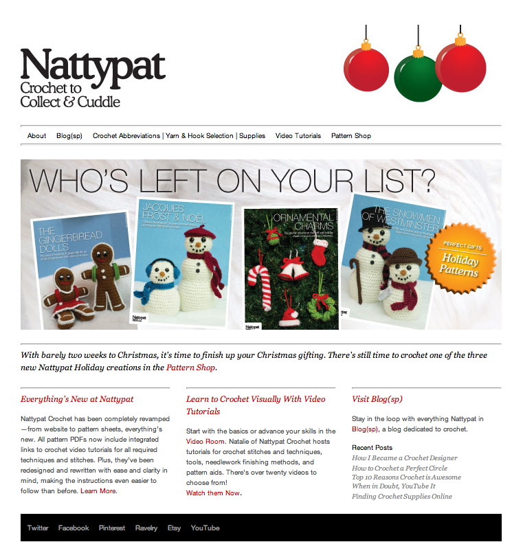 Nattypat News | New Holiday Patterns & Revamped NattypatCrochet.com