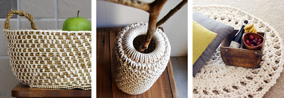Craft Passion   Rope Basket / Rope Vase by   Gédane   of Happy DIY (French) / Rope Rug by  WhollyKao