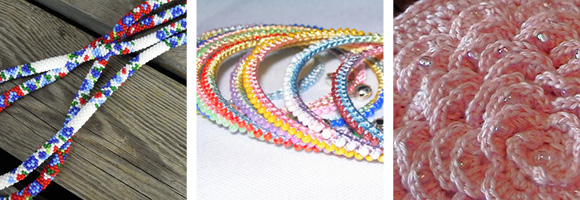 Spiral Bead Necklaces by Helen / Indian-inspired bracelet / Bead crochet by HookHound