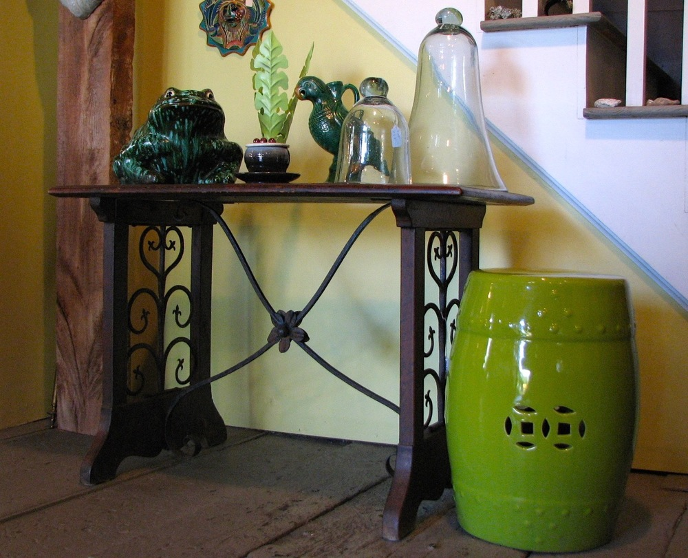 18th century italian walnut & iron hall table