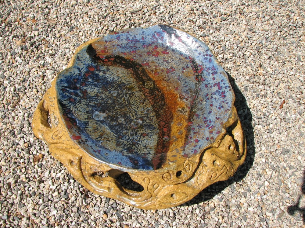 Carved low birdbath, $300.