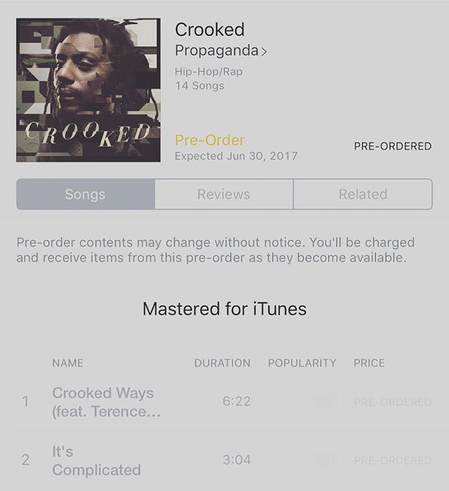 "Support your family and encourage others to too!! Go pre-order @prophiphop 's new album ""Crooked"" now on iTunes!! 💯 #Propaganda #Crooked #HipHopCulture #FootSoldiers"