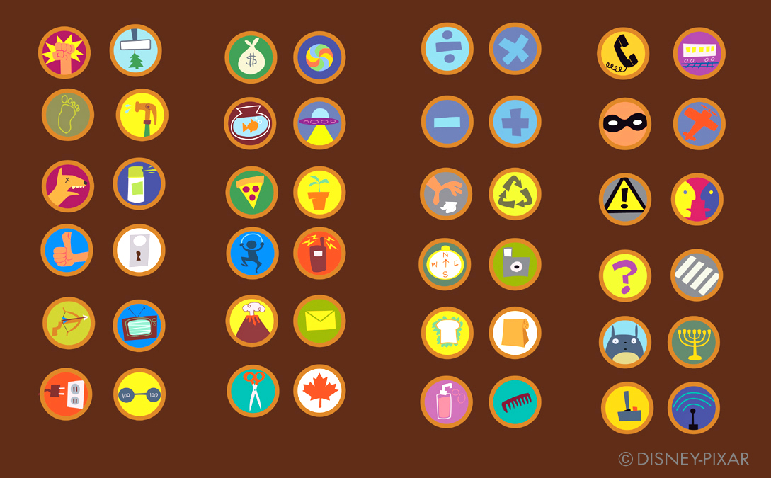 Pixar 39 s up 2 paul conrad for Work badges template