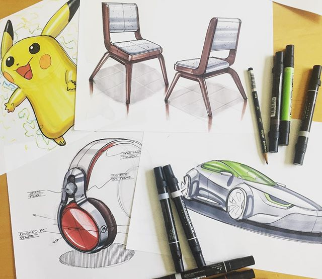 Today my little cousin came by to hang out and draw. It was a good opportunity to get more into sketching for fun. We drew everything from Pokémon to headphones. (I wish I got a picture before he left 😞) #design #industrialdesign #productdesign #furnituredesign #furniture #idsketching #sketch #doodle #doodlesofinstagram #instasketch #productsketch #markers #car #headphones #pokemon