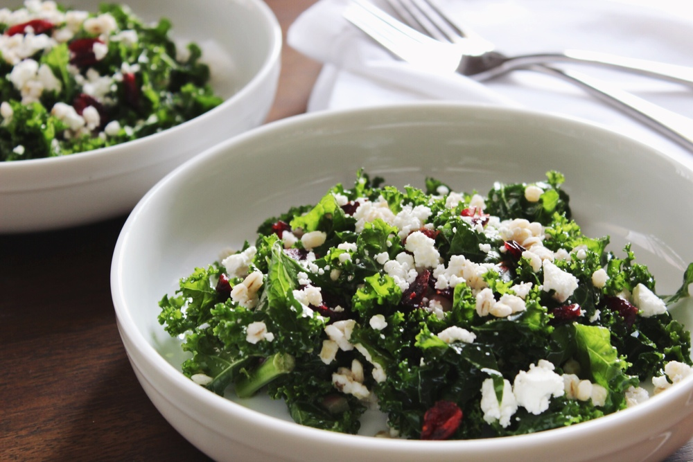 Kale salad with barley, cranberries, and goat cheese - The Pastiche