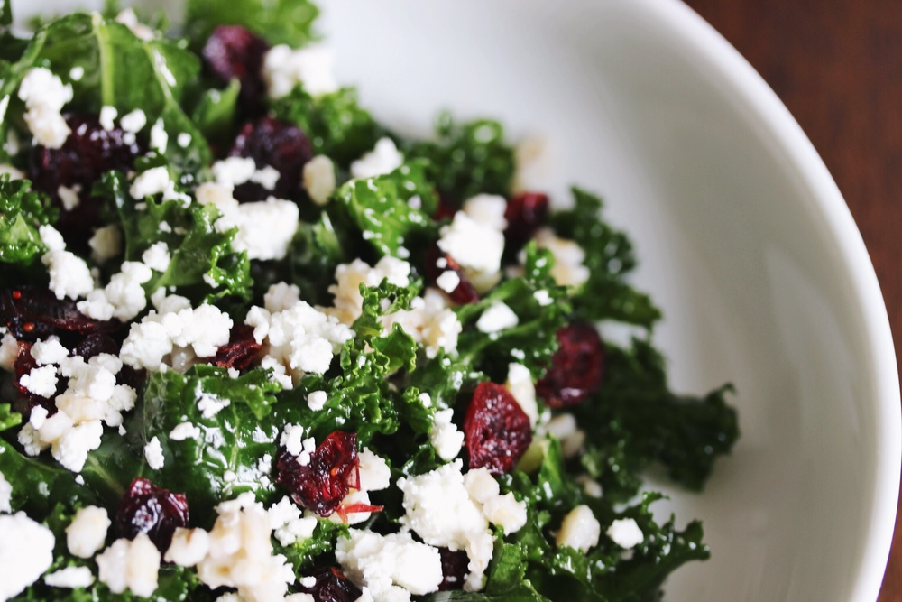 Kale salad with barley, cranberries, and goat cheese