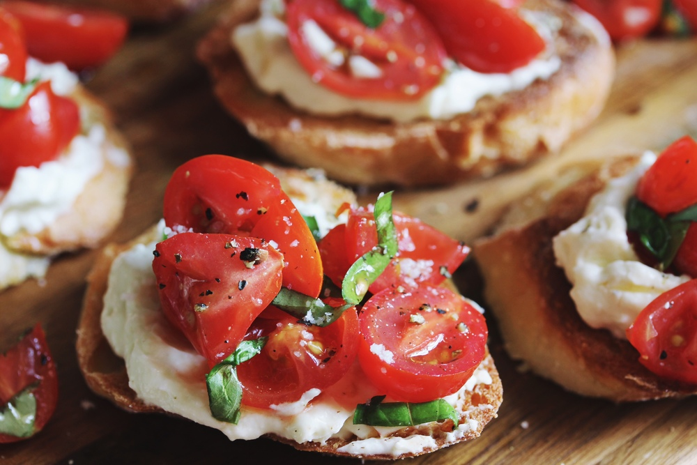 Cherry tomato and creamed feta crostini - The Pastiche