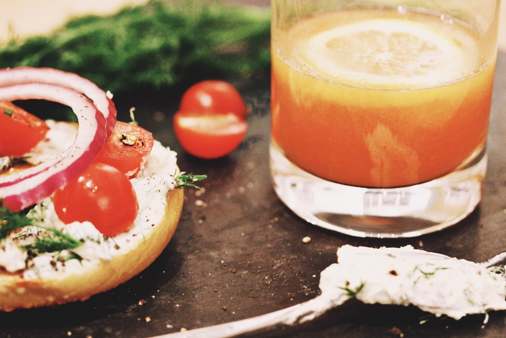 Bagel breakfast with homemade herbed cream cheese - The Pastiche