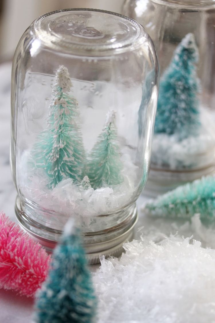 DIYRetro bottle brush snow globes The Pastiche