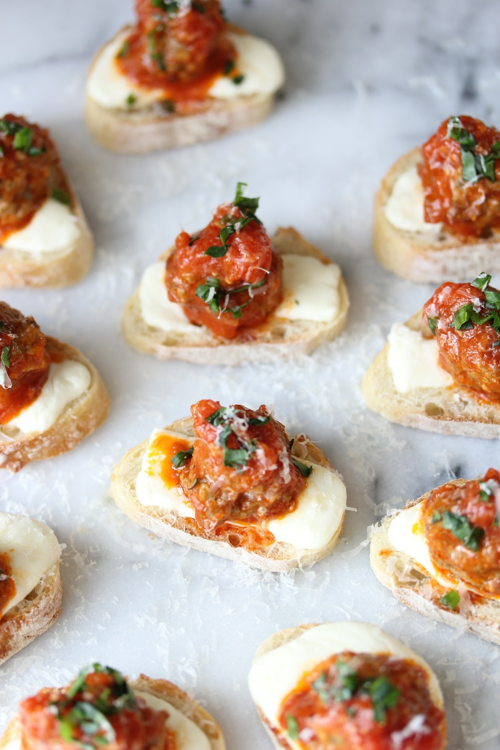 Meatball sub crostini - The Pastiche