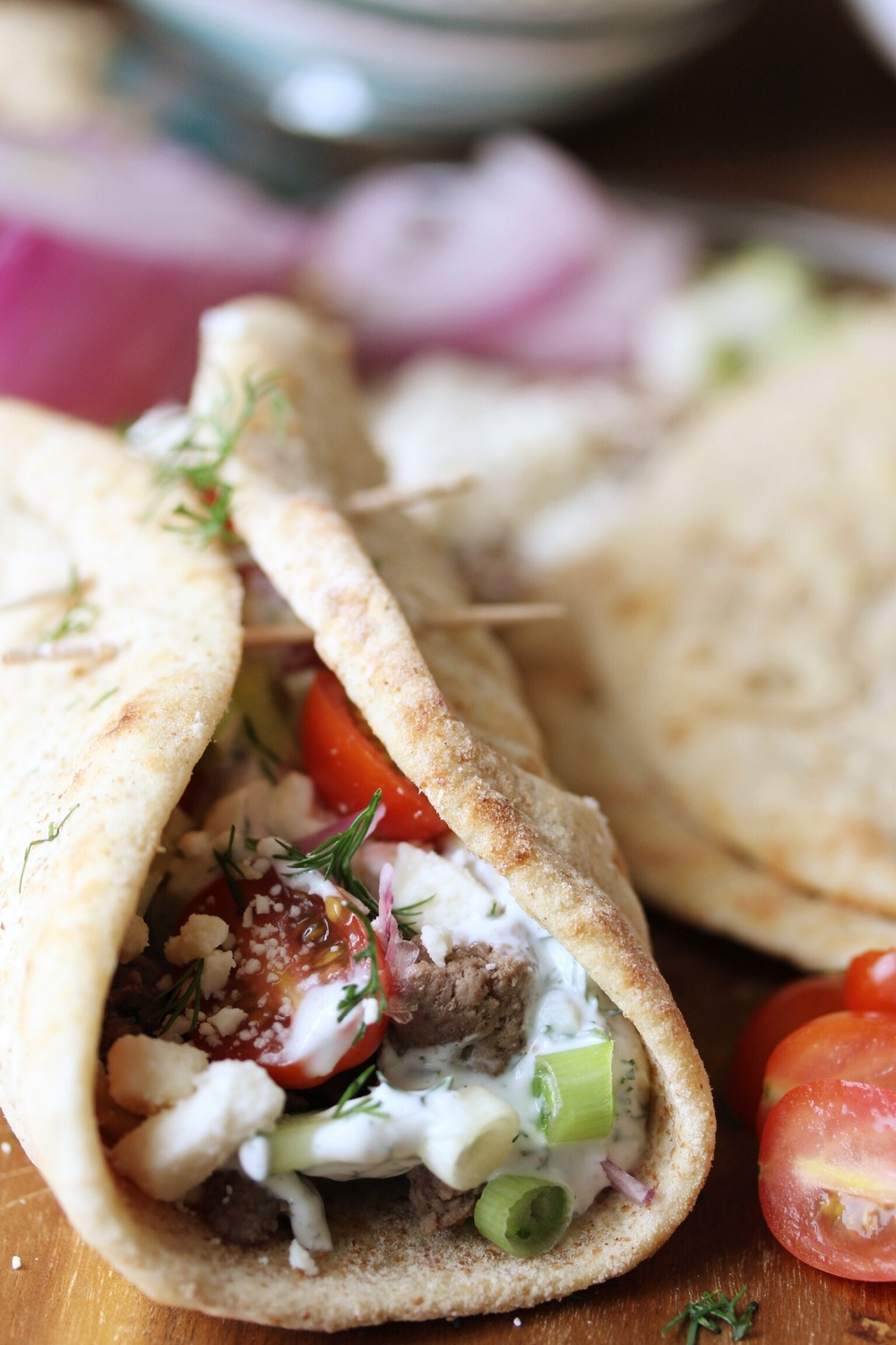 Greek pitas with lamb - The Pastiche