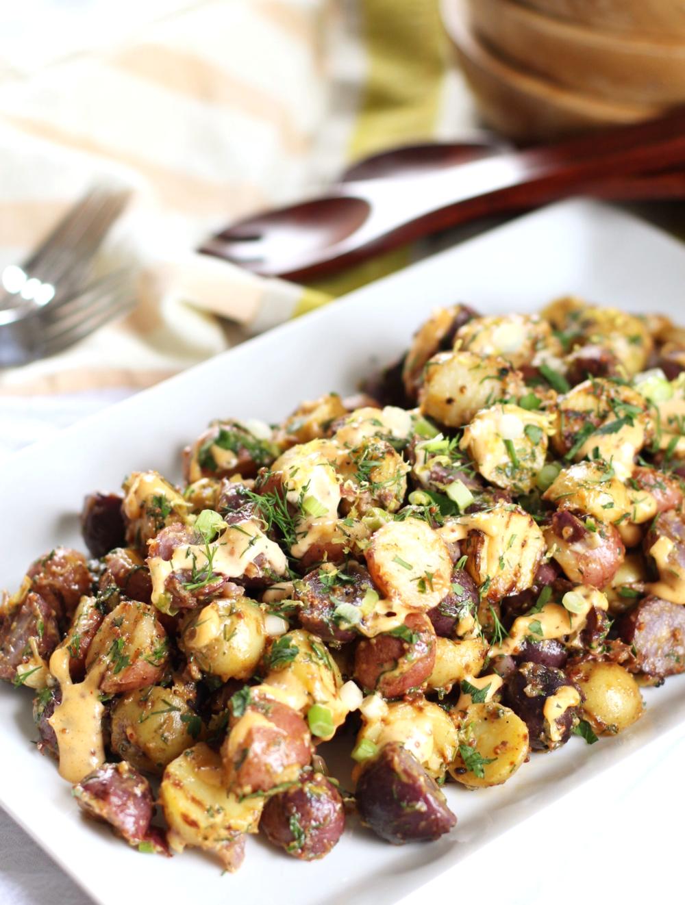 Smoky aioli grilled potato salad - The Pastiche