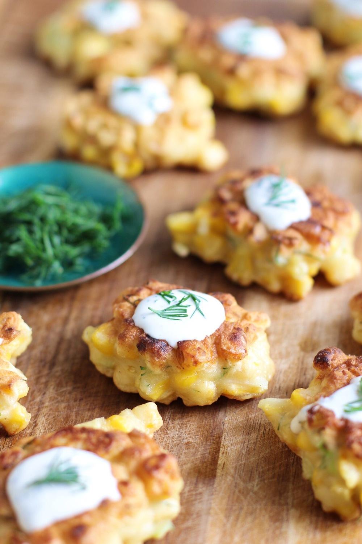 Sweet corn cakes with dill creme fraiche - The Pastiche
