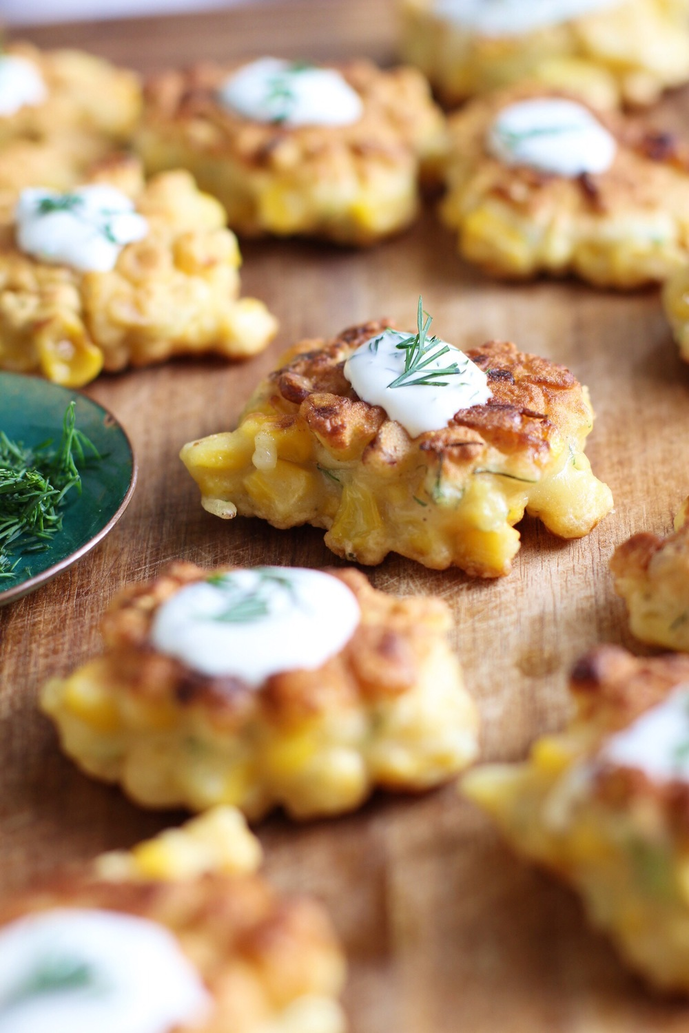 Sweet corn cakes with dill crème fraîche — The Pastiche