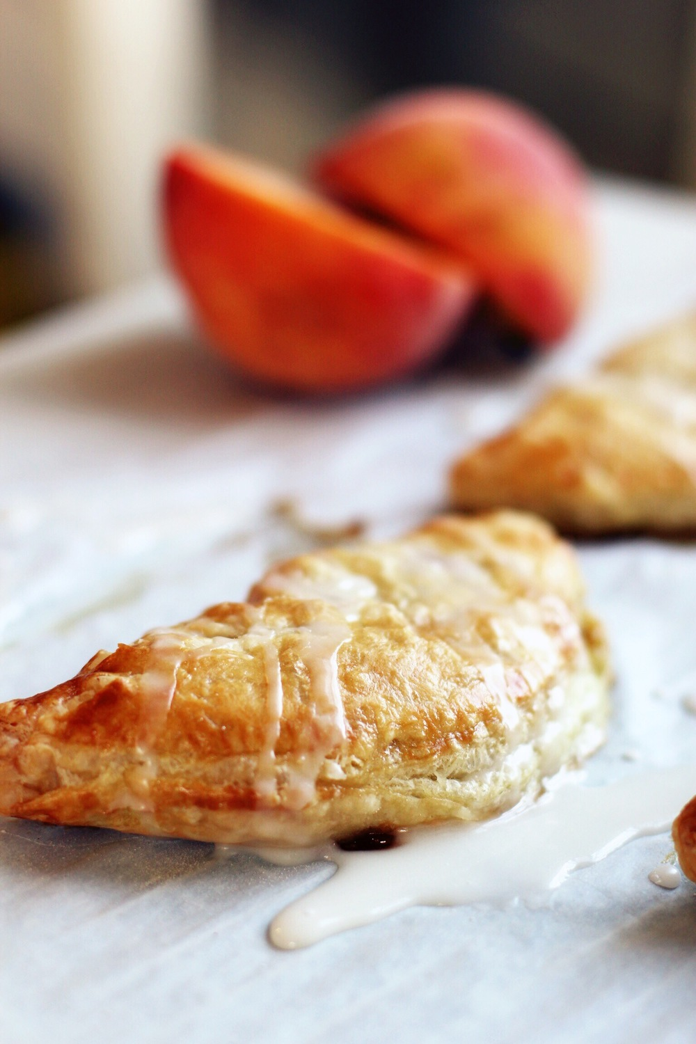 Peach turnovers with almond glaze- The Pastiche