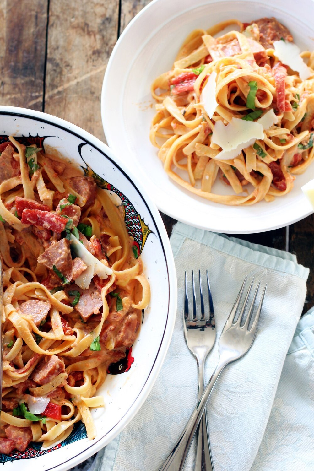 Fettucine with vodka cream sauce, roasted red peppers, and Andouille sausage - The Pastiche