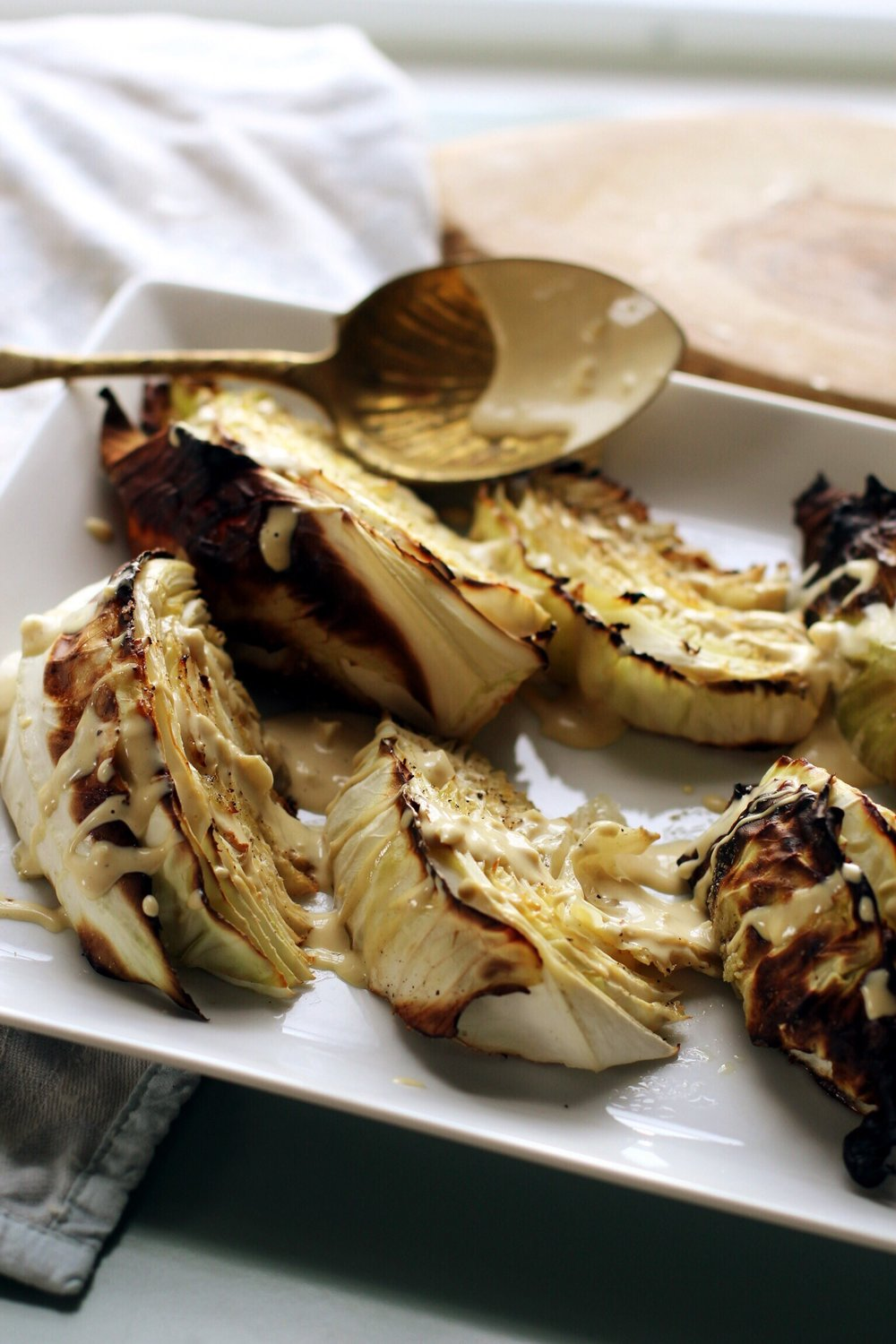 Roasted cabbage with Dijon garlic sauce - The Pastiche