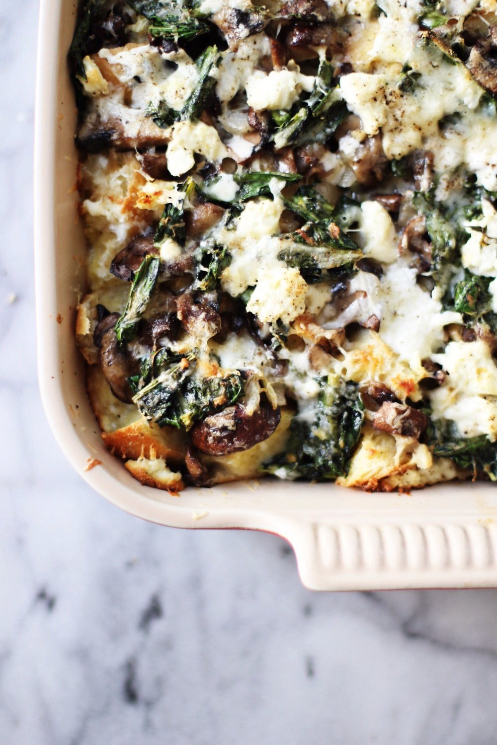 Savory bread pudding with mushrooms, goat cheese, and thyme - The Pastiche