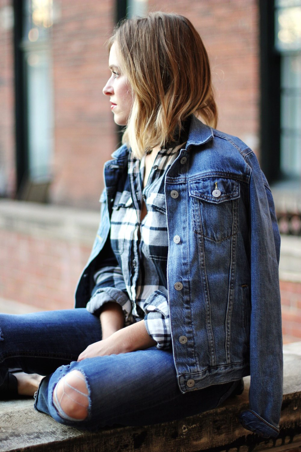 Denim on denim with flannel - The Pastiche