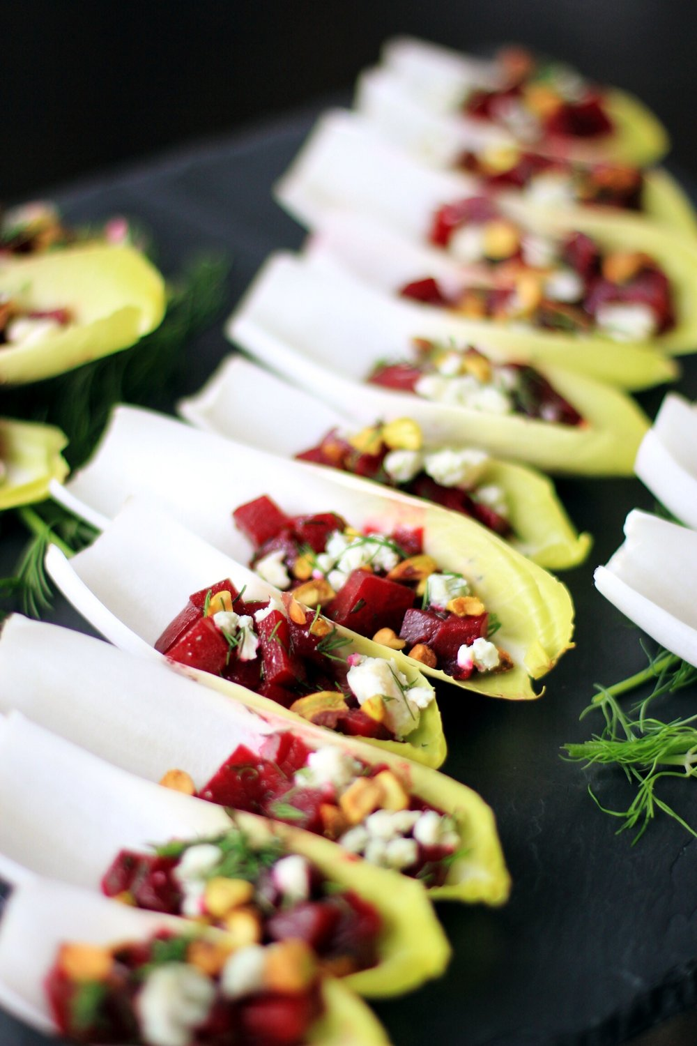 Endive with marinated beets, gorgonzola, and pistachios - The Pastiche