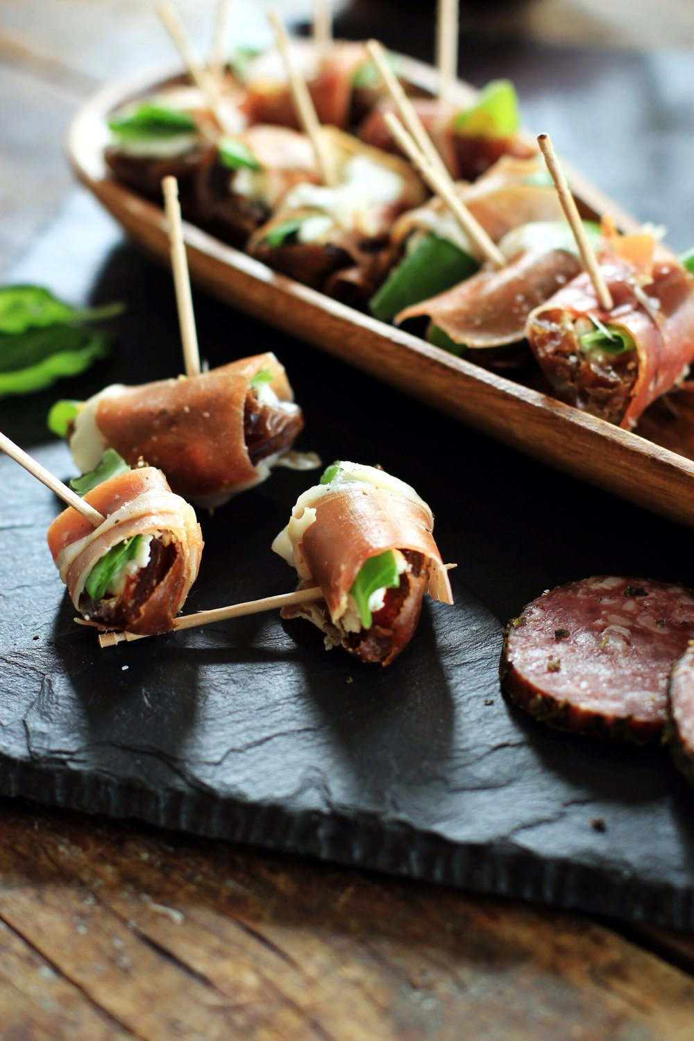 Goat cheese stuffed dates with Serrano ham and basil - The Pastiche