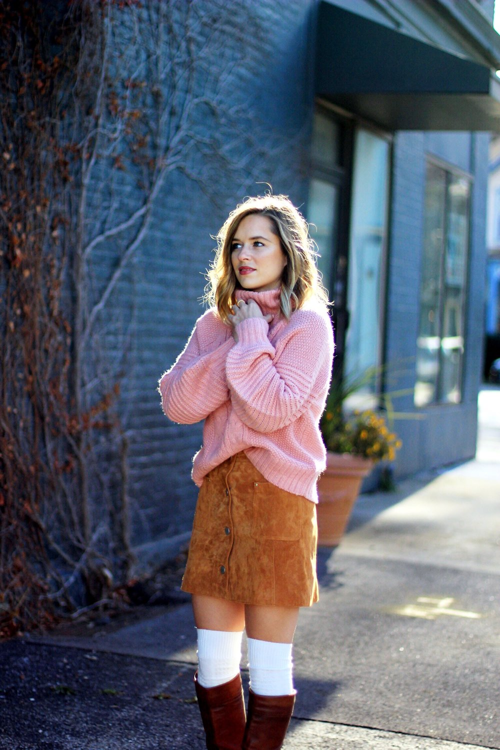 Pink chunky knit and knee highs - The Pastiche