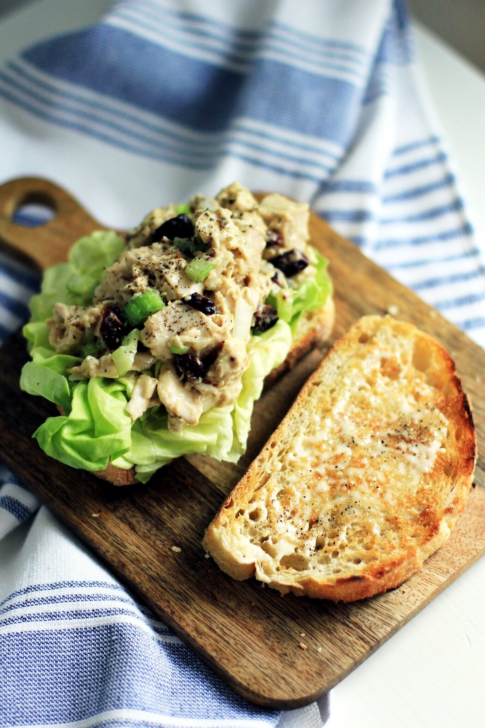 Honey Dijon chicken salad with dried cherries on sourdough - The Pastiche