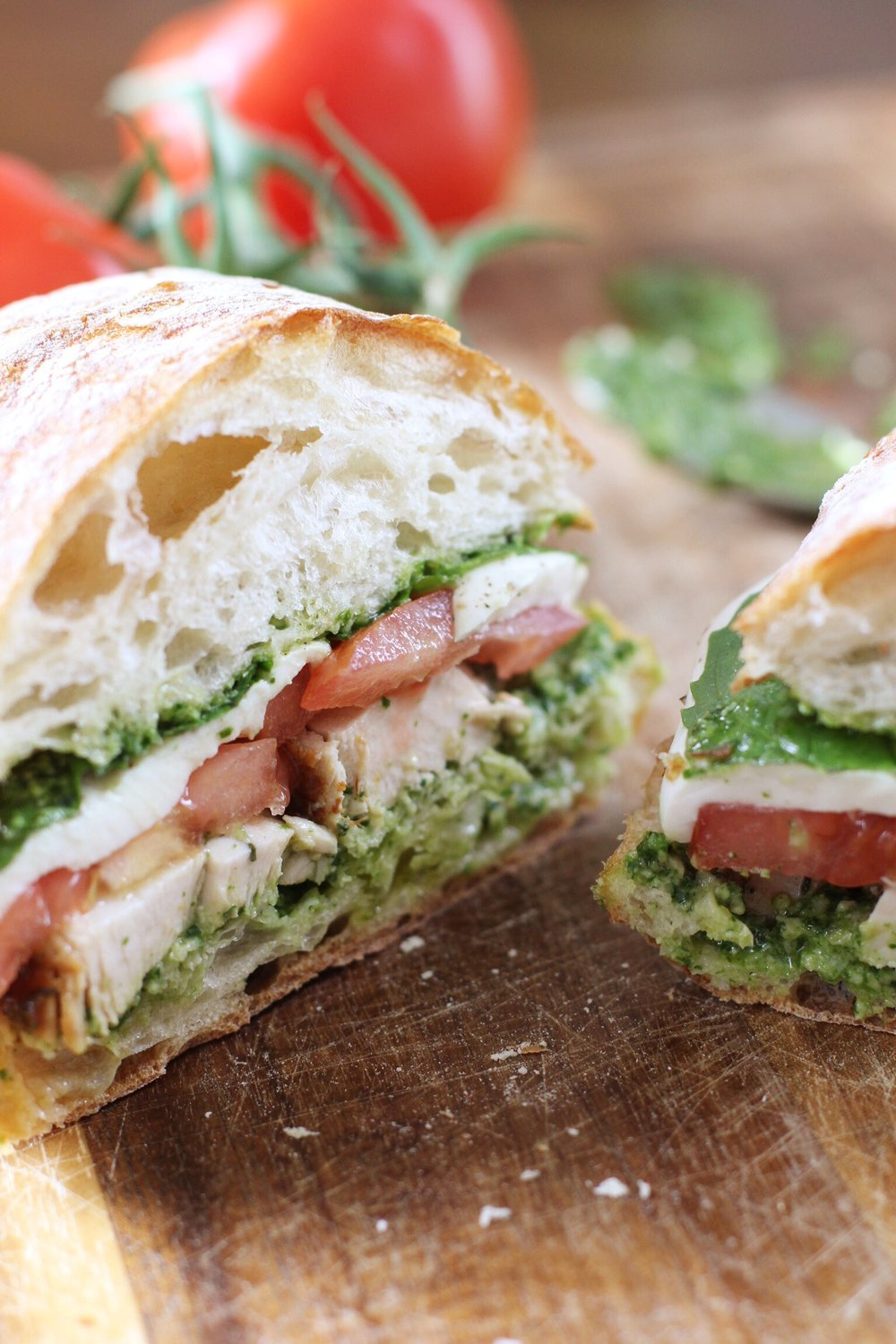 Chicken, tomato, and mozz melt with pesto