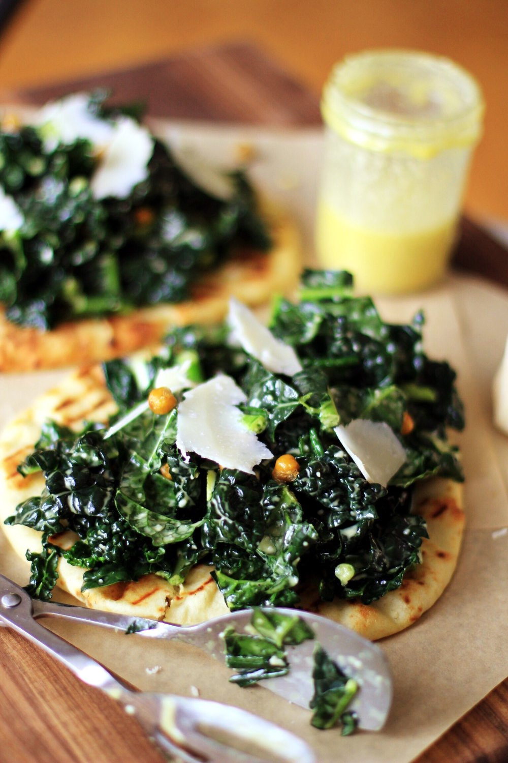 Kale Caesar on naan flatbread