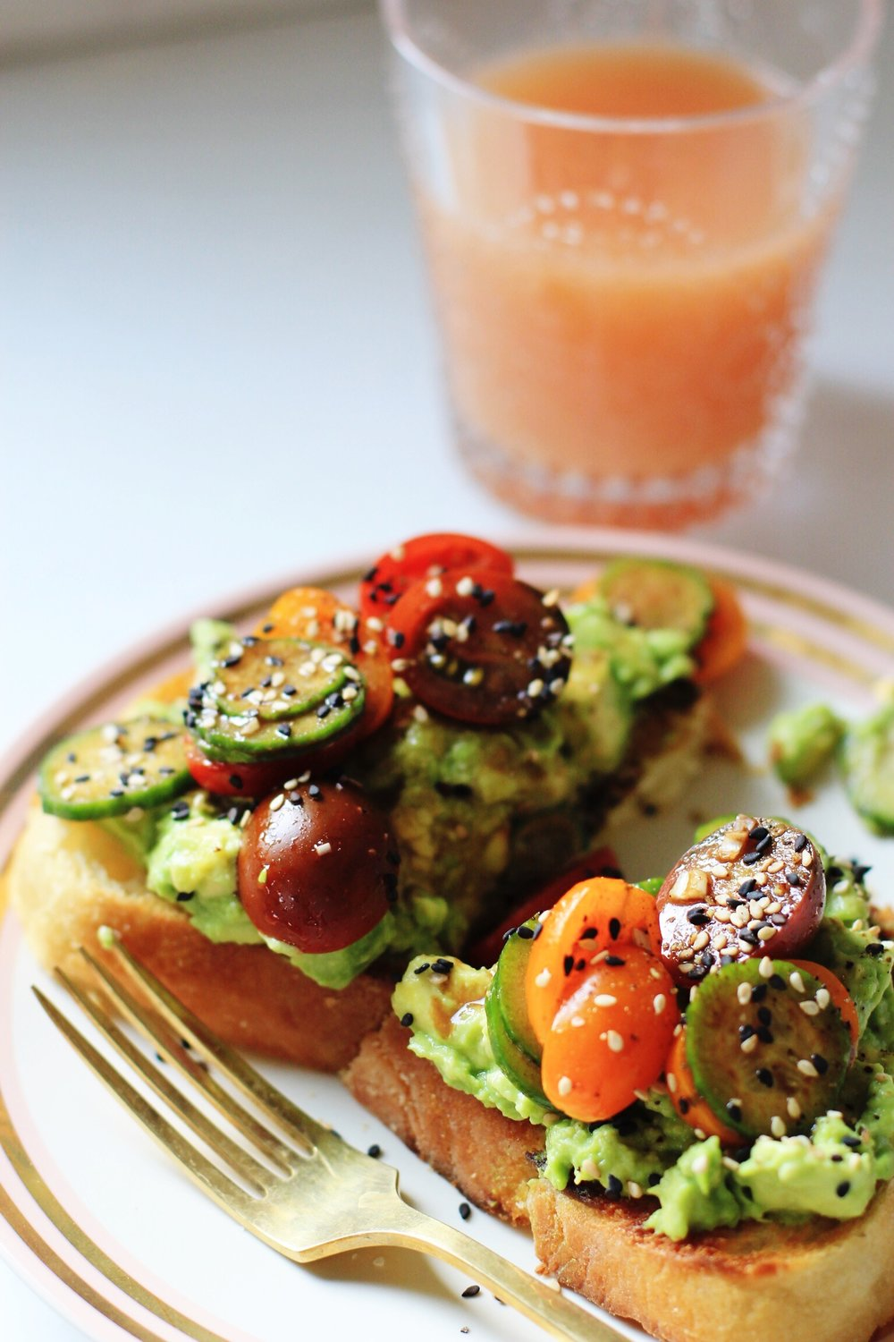 Avocado toast with balsamic tomatoes