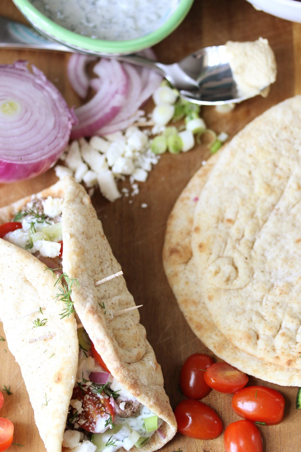 Greek pitas with lamb and tzatziki