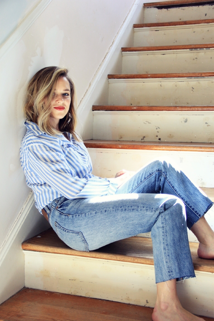 Classic striped oxford and jeans - The Pastiche