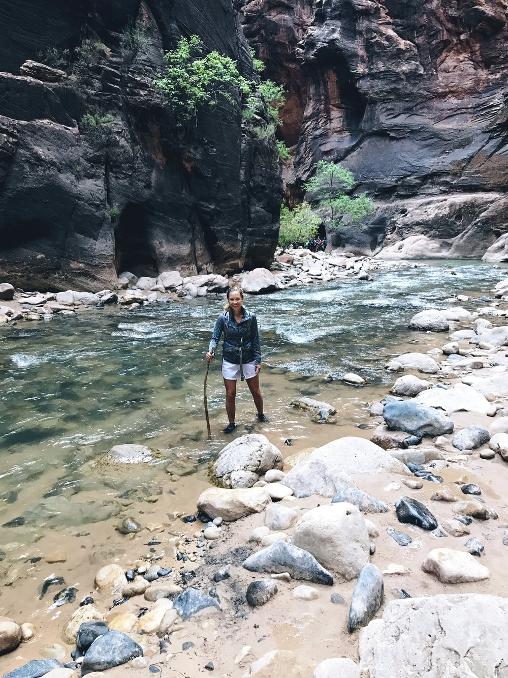 A hiking stick is a necessity in the Narrows