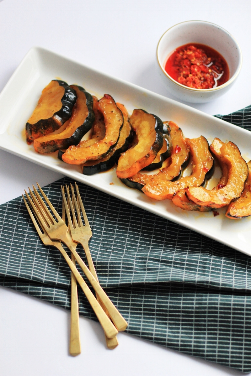 Roasted acorn squash with brown sugar and chili oil