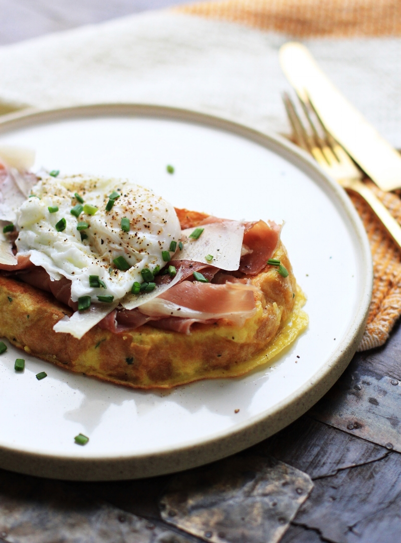 Herb French toast with prosciutto and Parmesan