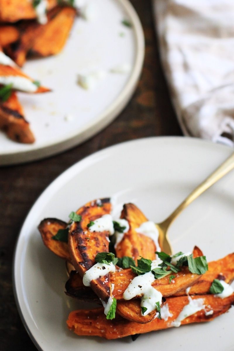 Roasted sweet potatoes with jalapeno lime yogurt