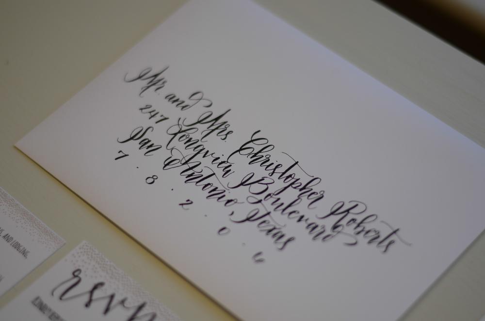 calligraphy calligrapher addressing invitation suite bride wedding san antonio south texas