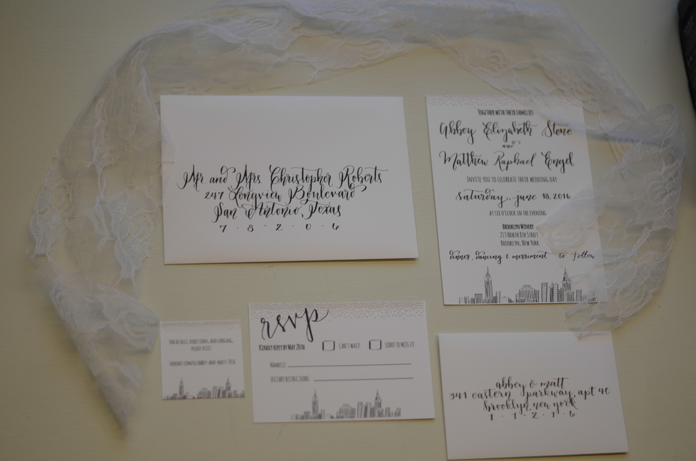 calligraphy modern calligraphy calligrapher invitation suite custom artwork drawing bride wedding san antonio south texas