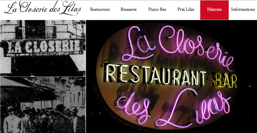La Closerie des Lilas (Paris, France); Image taken from La Closerie des Lilas webpage, featuring its rich historical roots.