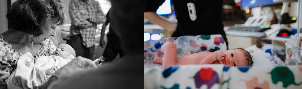 Left: Grandmother hold new baby granddaughter during a Fresh48 session at a hospital in Portland Oregon. Right: Baby just born after a fast labor and delivery at hospital with nurse awaits his measurements being taken. Photos by Ashlan Taylor of Portland Birth Stories