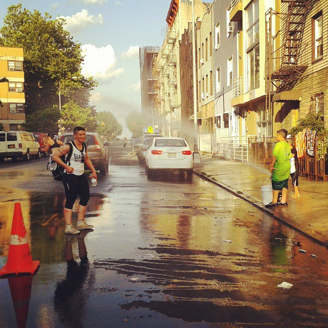 #TBT to ECDX 2013. Marshall Lawless was trying to cool off in the baking Brooklyn heat with some local kids and their conveniently broken fire hydrant.