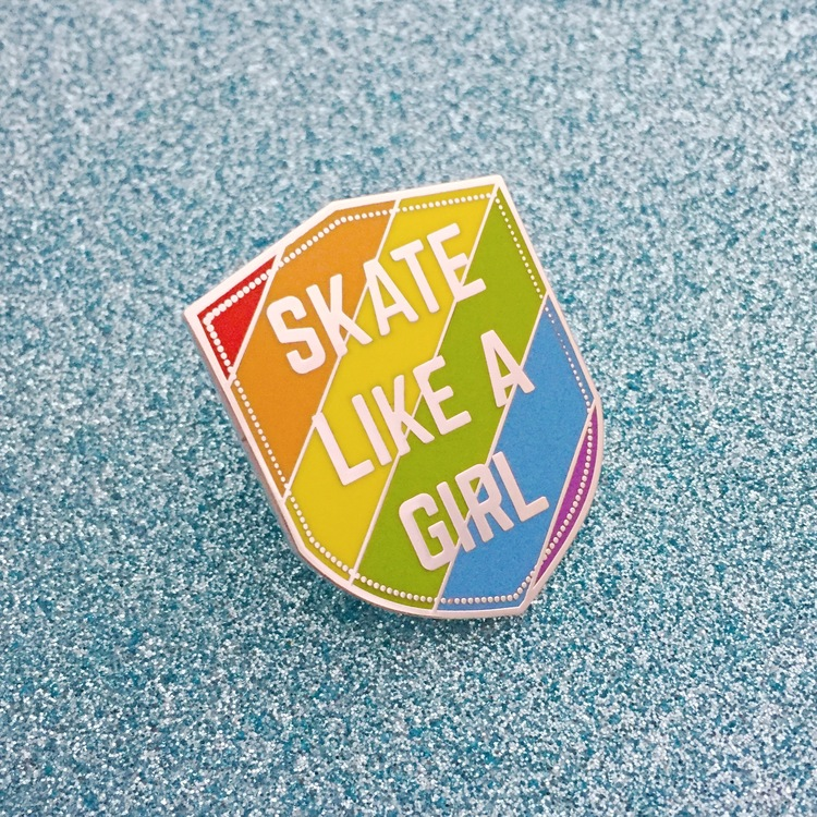 Skate Like A Girl enamel pin, £7.